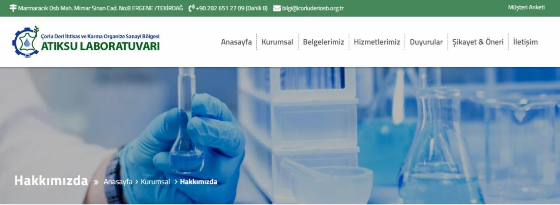 Atıksu Laboratuvarımızın Yeni Web Sayfası Yayında