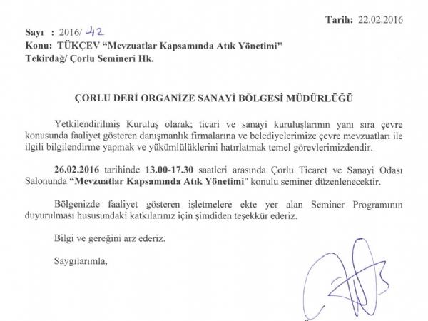 """TÜRKÇEV """"Mevzuatlar Kapsamında Atık Yönetimi """" Konulu Tekirdağ / Çorlu Semineri"""